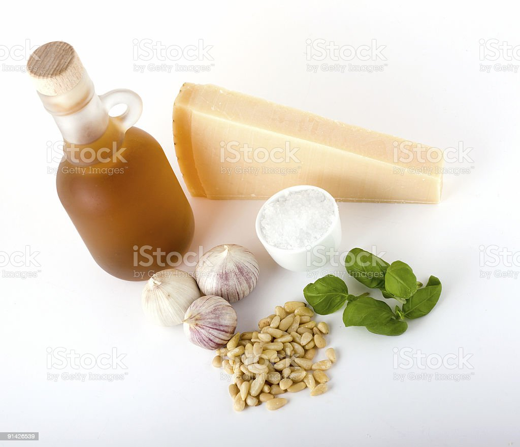 Basic basil pesto ingredients royalty-free stock photo