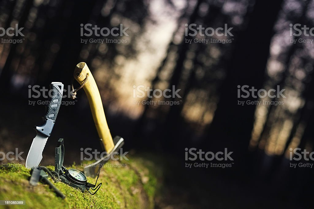 basic bushcraft tools stock photo