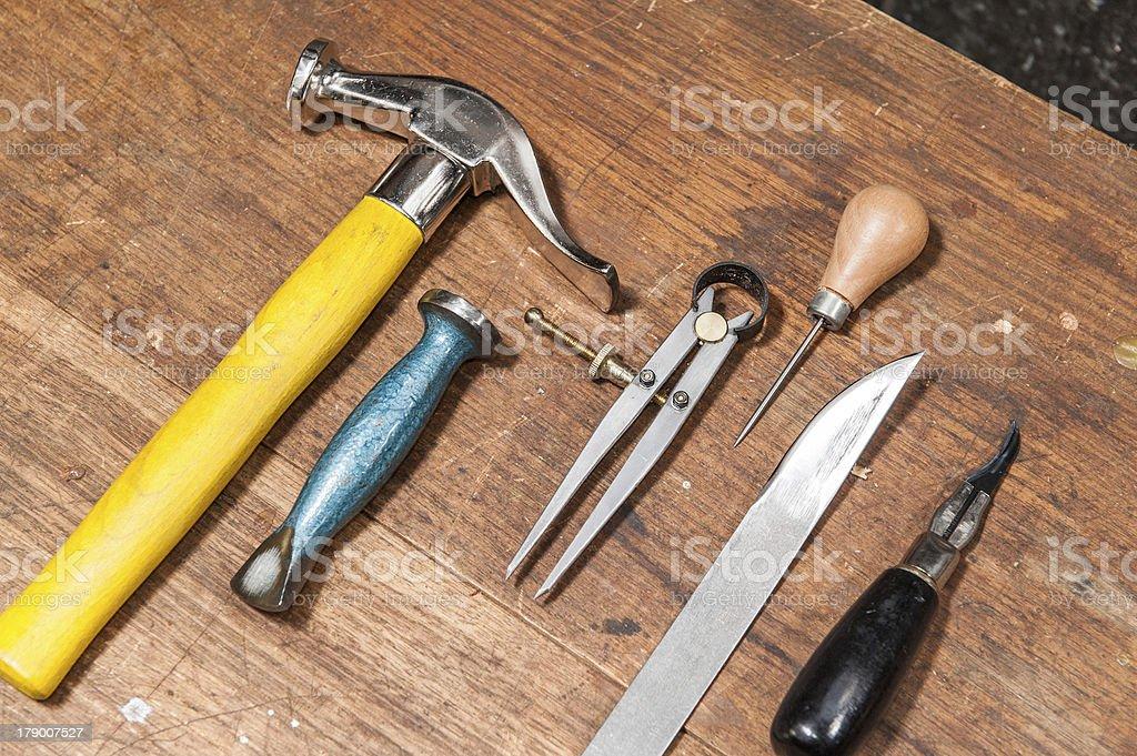 Basic Cobbler Tools stock photo