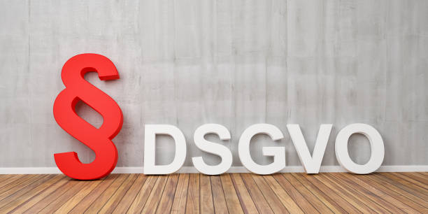 DSGVO grundlegende Verordnung Datenschutzkonzept mit roten Absatzsymbol auf graue Betonwand - 3D Rendering – Foto
