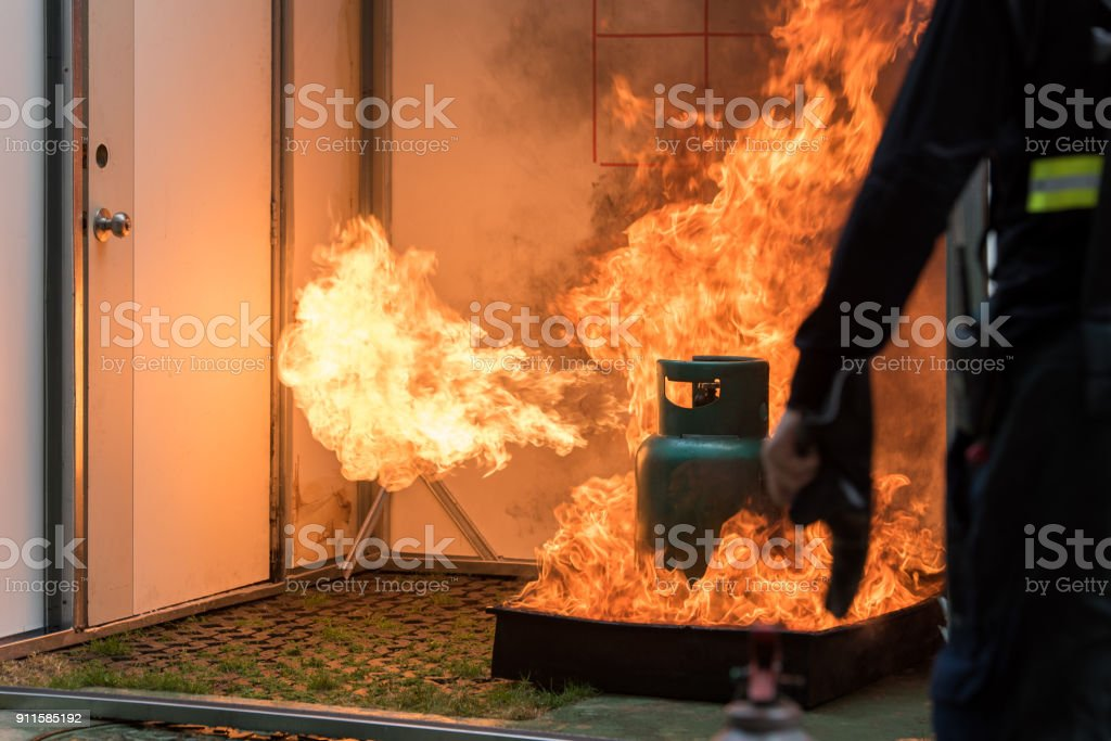 Basic Fire Fighting and Evacuation Fire Drill Simulation Training For Safety in Condominium or Company stock photo