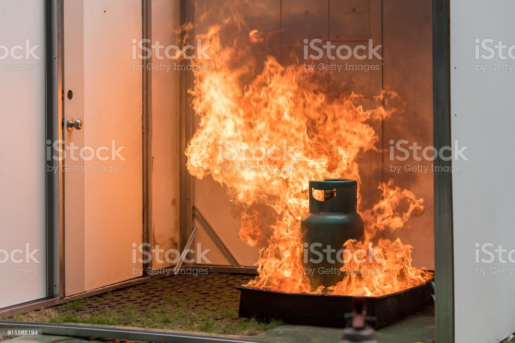 Basic Fire Fighting and Evacuation Fire Drill Training For Safety in Condominium stock photo