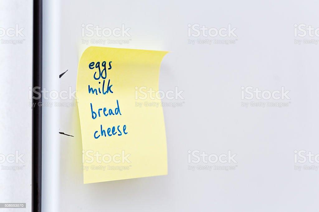 Basic food shopping list reminder note on fridge door royalty-free stock photo & Basic Food Shopping List Reminder Note On Fridge Door Stock Photo ...