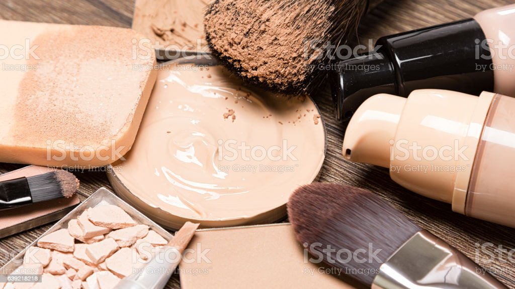 Basic makeup products for flawless complexion stock photo