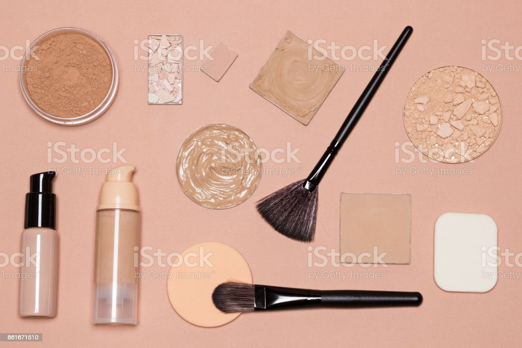 Basic makeup products to achieve even skin tone stock photo