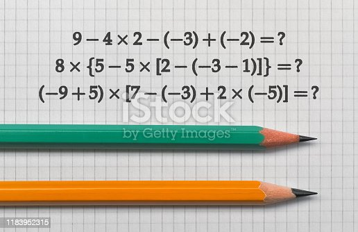 Example of the basic math operations and a pencil on bright background