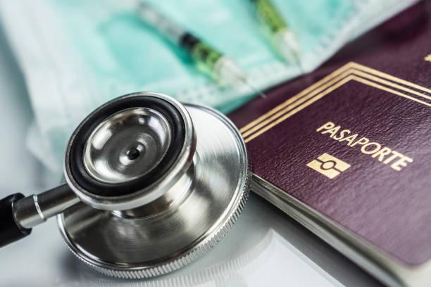 grundlegende medizin elemente ins ausland reisen konzeptbild - spanische rezepte stock-fotos und bilder