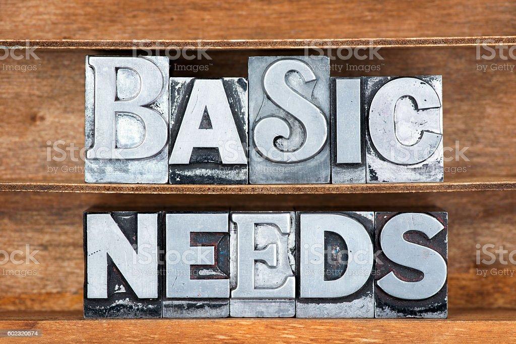 basic needs tray stock photo