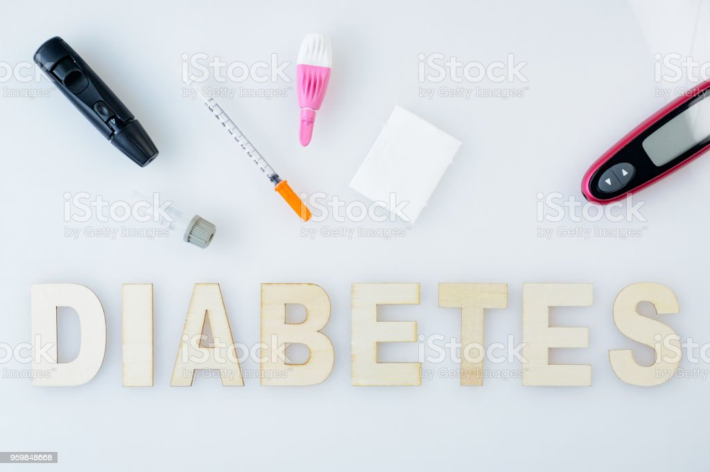 Basic tools for insulinotherapy and patients with diabetes. Inscription diabetes. Health care or pharmacy themes. Medical environment. stock photo