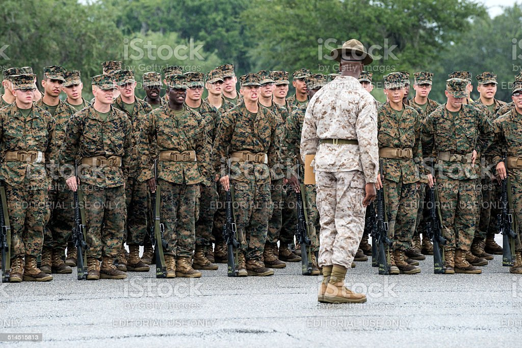 Basic training at Parris Island stock photo