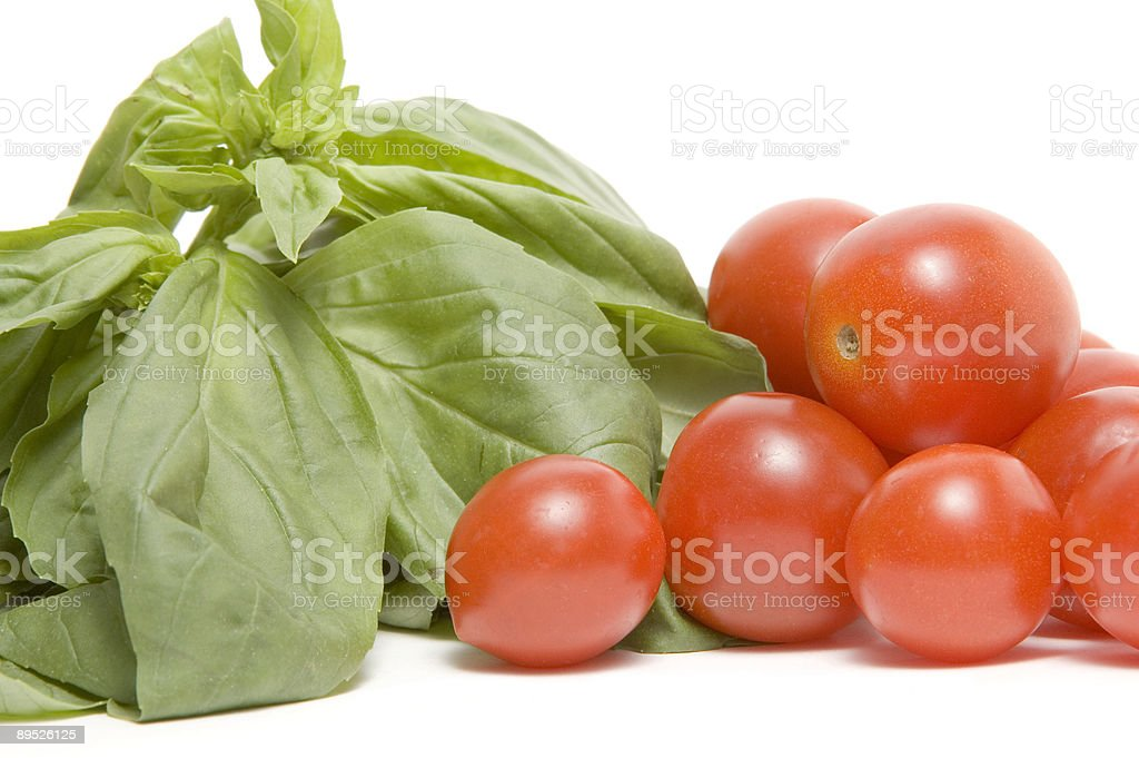 Basil and Tomatoes 免版稅 stock photo