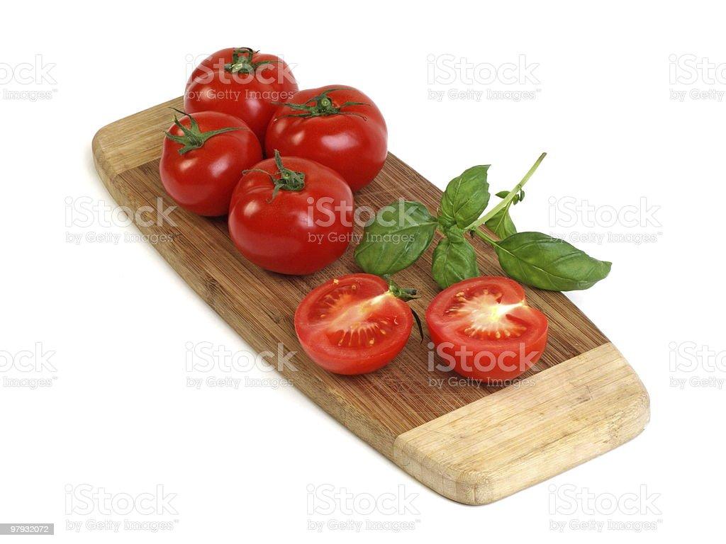 Basil and Tomatoes royalty-free stock photo