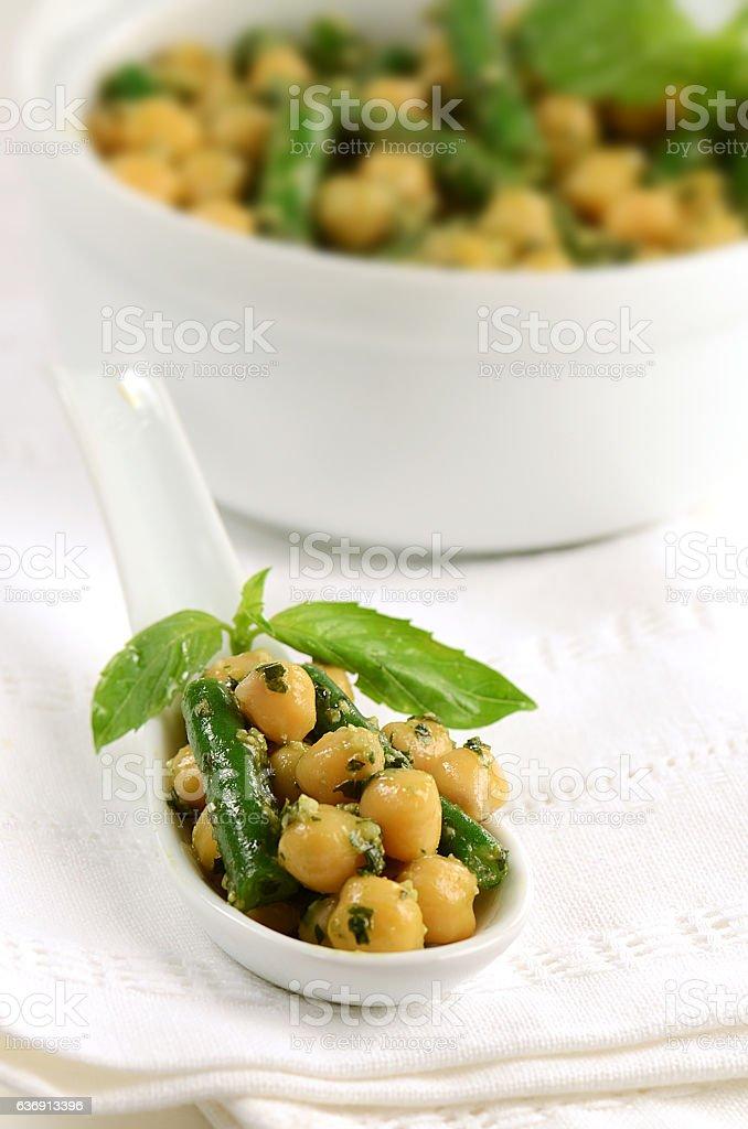 Basil Pesto Chickpea Salad stock photo