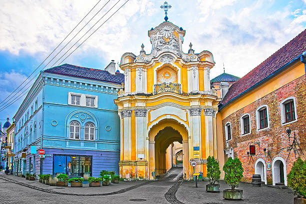 Basilian monastery gate in the Old Town of Vilnius, Lithuania stock photo