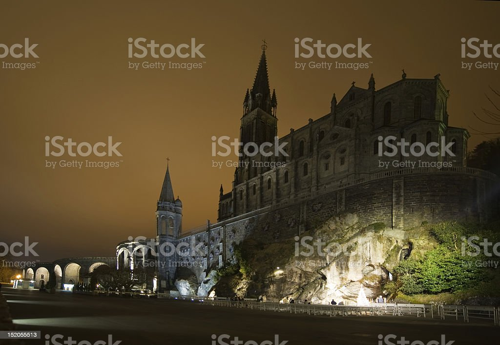 Basilica and Grotto of Lourdes, France stock photo