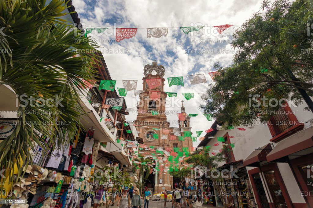 Basilica and plaza in Downtown Puerto Vallarta stock photo