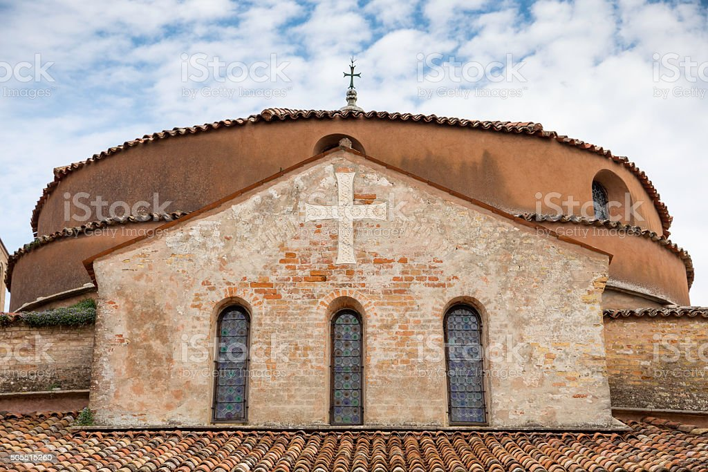 Basilica and Santa Fosca cathedral roof in Torcello Island. Venice stock photo