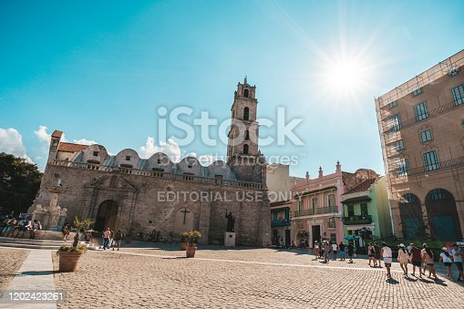 The basilica and the monastery of San Francisco de Asis or Saint Francis of Assisi in San Francisco square, Old Havana, Cuba