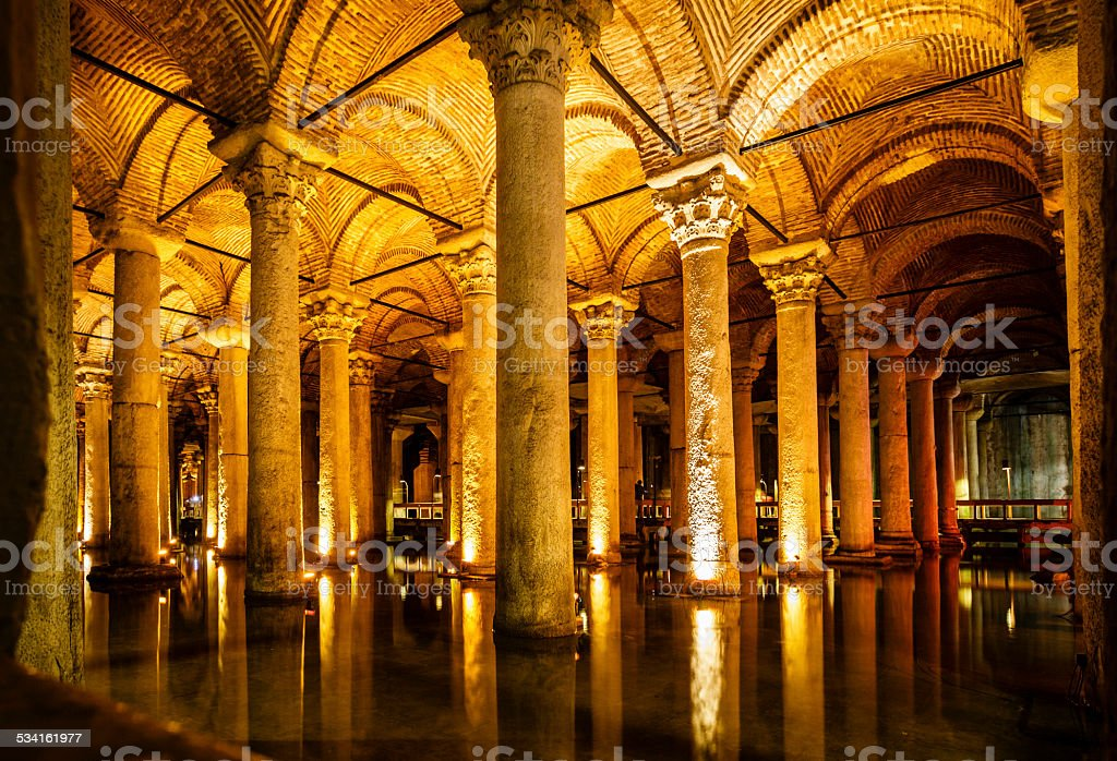 Basilica Cistern in Istanbul stock photo