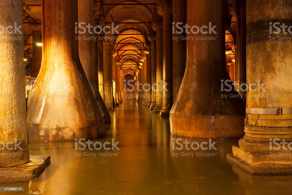 Basilica Cistern without visitors in Istanbul, Turkey. stock photo