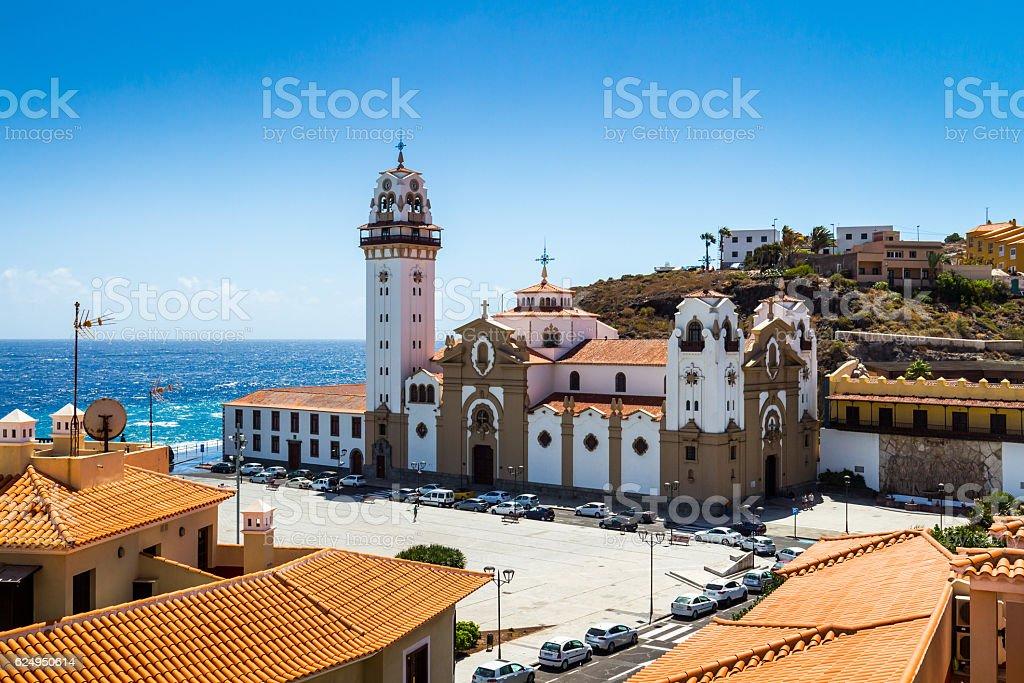 Basilica de Candelaria church in Tenerife at Canary Islands stock photo