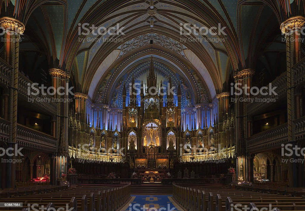 Basilica De Notre Dame in Montreal, Canada royalty-free stock photo
