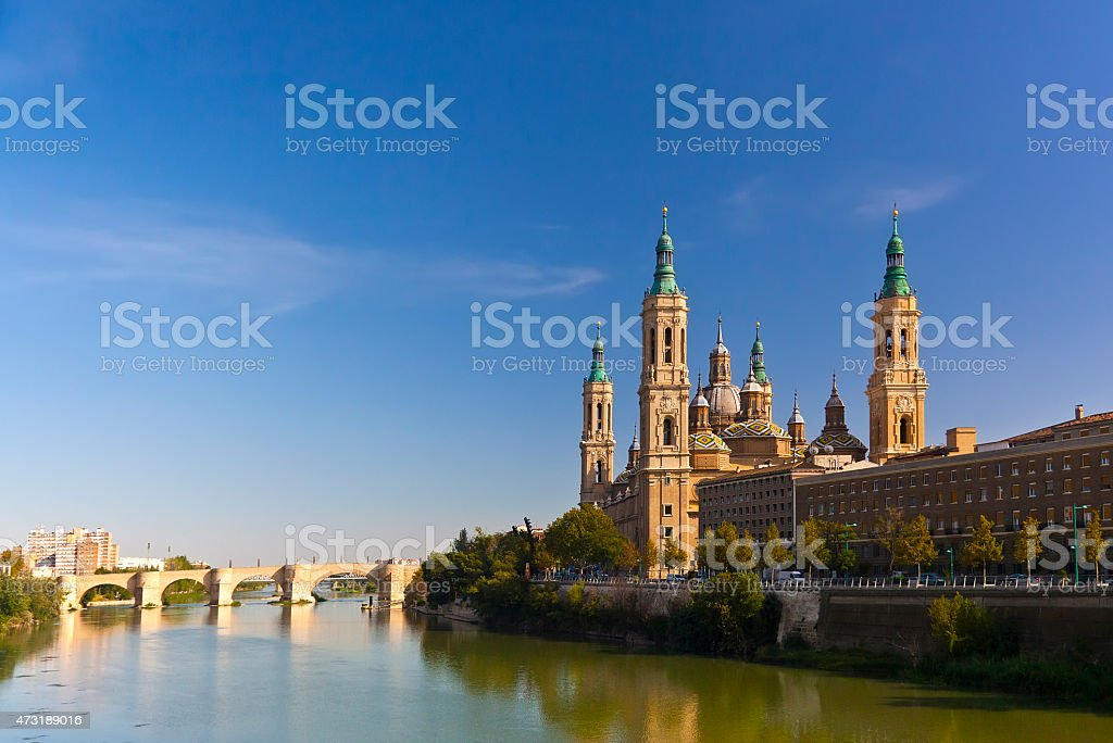 Basilica del Pilar in a bright sunny day. Zaragoza, Spain stock photo