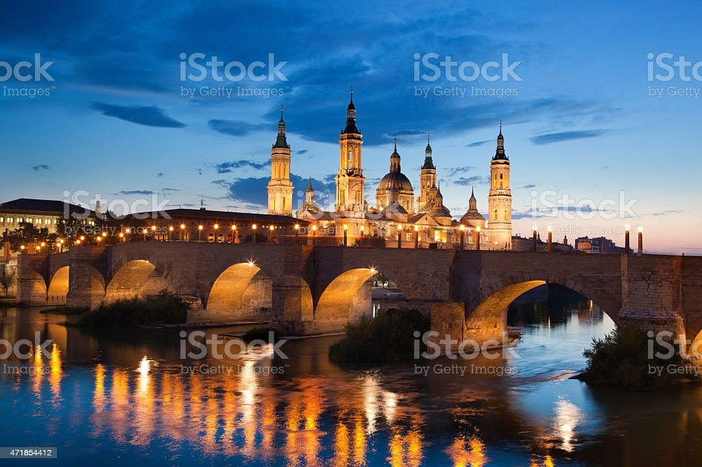 Basilica del Pilar in the evening at sunset. Zaragoza, Spain stock photo