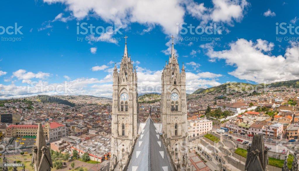 Basilica del Voto Nacional and downtown Quito stock photo