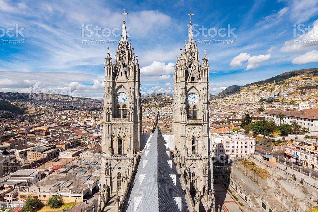Basilica del Voto Nacional in Quito, Ecuador stock photo