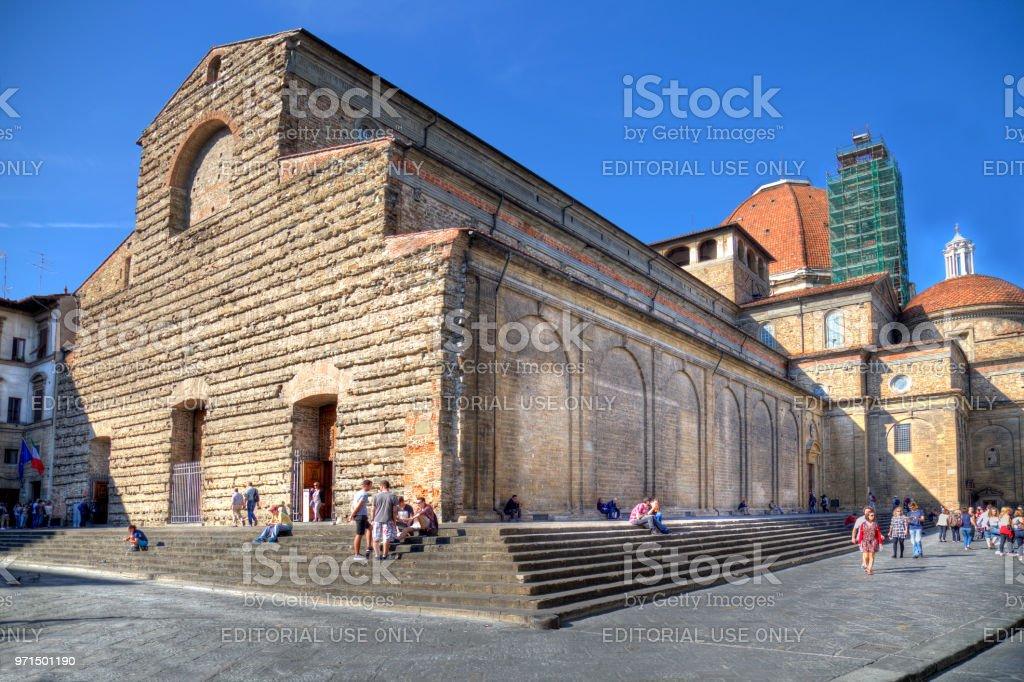 Basilica di San Lorenzo church in Florence, Italy stock photo