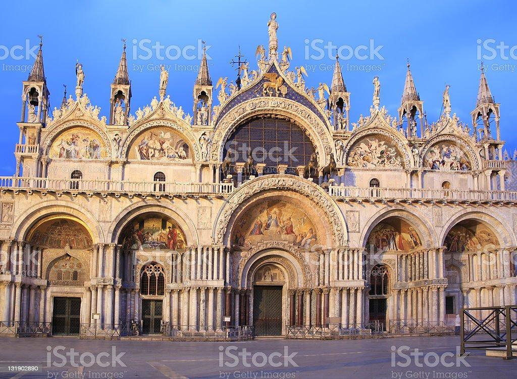 Basilica di San Marco at dusk, Venice, Italy royalty-free stock photo