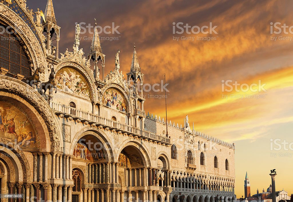 Basilica di San Marco with dramatic sunset stock photo