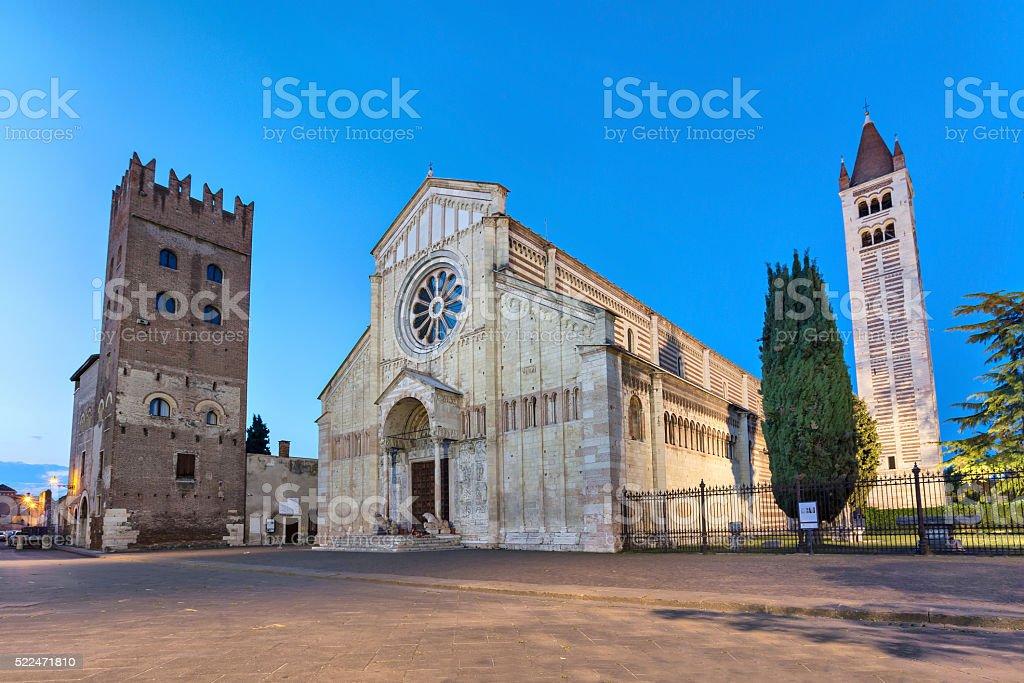 Basilica di San Zeno Maggiore in Verona stock photo
