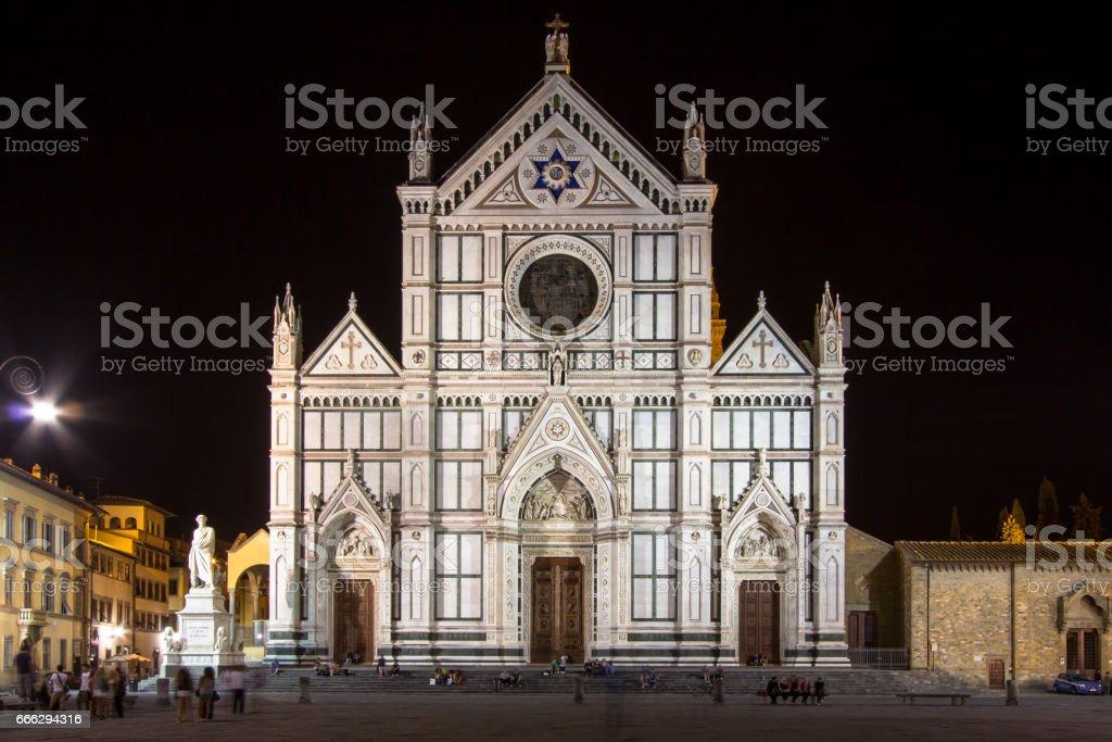 Basilica di Santa Croce at night, Florence, Italy stock photo