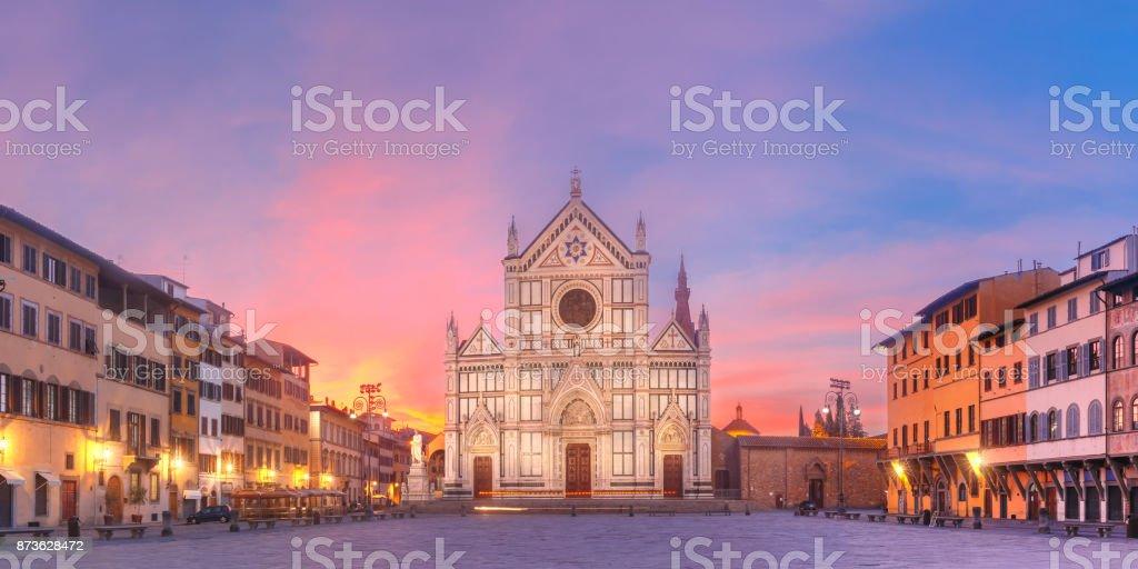 Basilica di Santa Croce at sunrise, Florence Italy stock photo