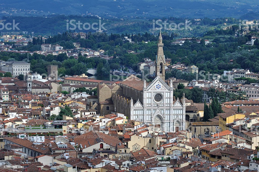 Basilica di Santa Croce seen from Campanile di Giotto, Florence Italy stock photo