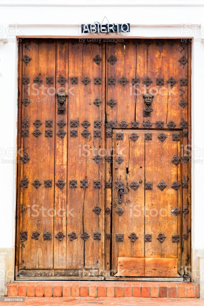 Basilica Door in Monserrate stock photo