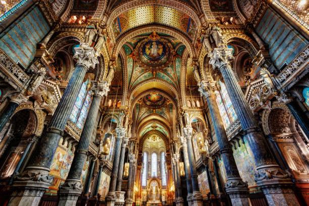 basilikan notre dame, lyon, frankrike - unesco bildbanksfoton och bilder