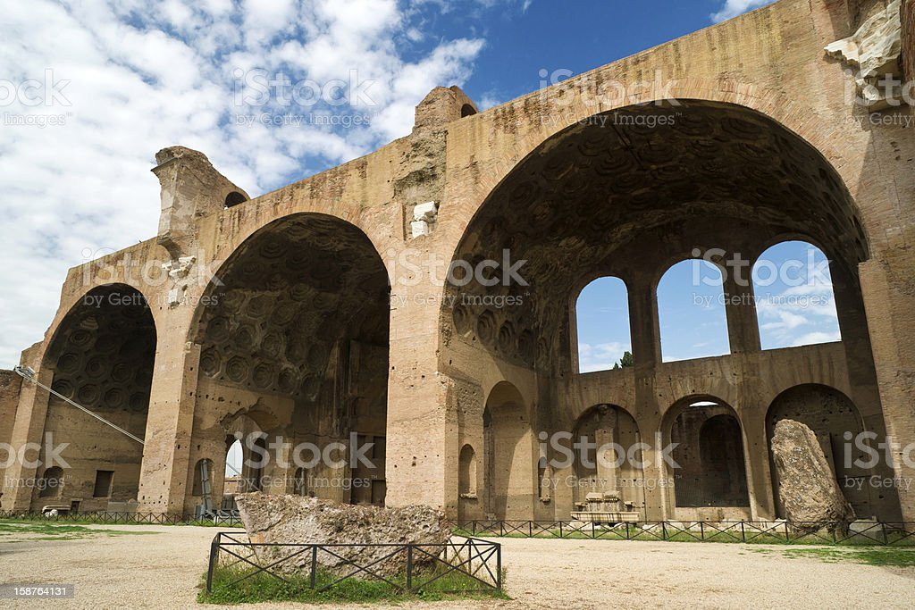Basilica of Maxentius and Constantine in the Roman Forum stock photo