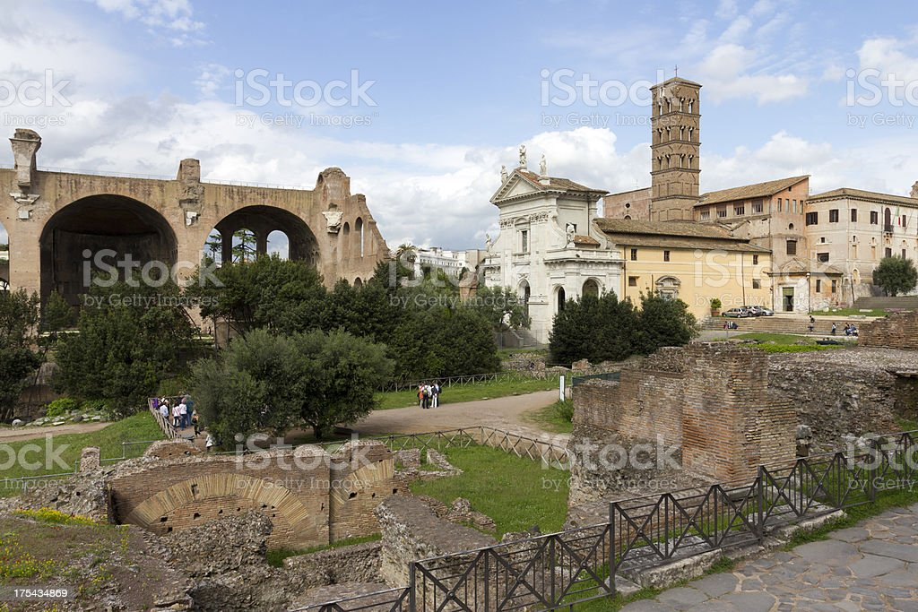 Basilica of Maxentius and Constantine stock photo