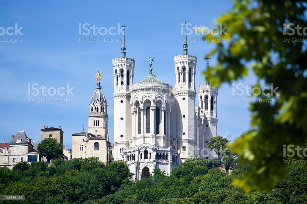 Basilica of Notre Dame de Fourviere in Lyon stock photo