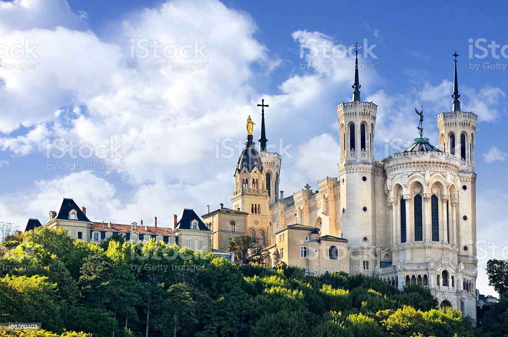 Basilica of Notre Dame de Fourviere, Lyon, France stock photo