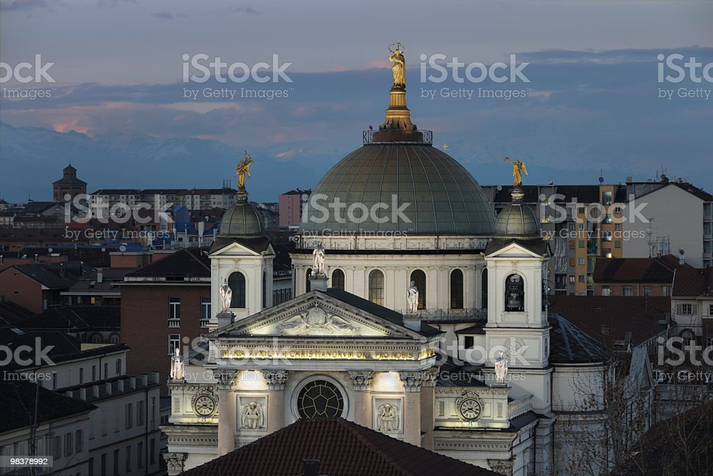 Basilica of Our Lady Help of Christians, Turin, aerial view royalty-free stock photo