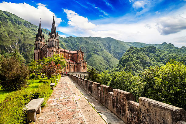 Basilica of Our Lady of Battles, Covadonga, Asturias, Spain. Basilica of Our Lady of Battles, Covadonga, Asturias, Spain. abbey monastery stock pictures, royalty-free photos & images