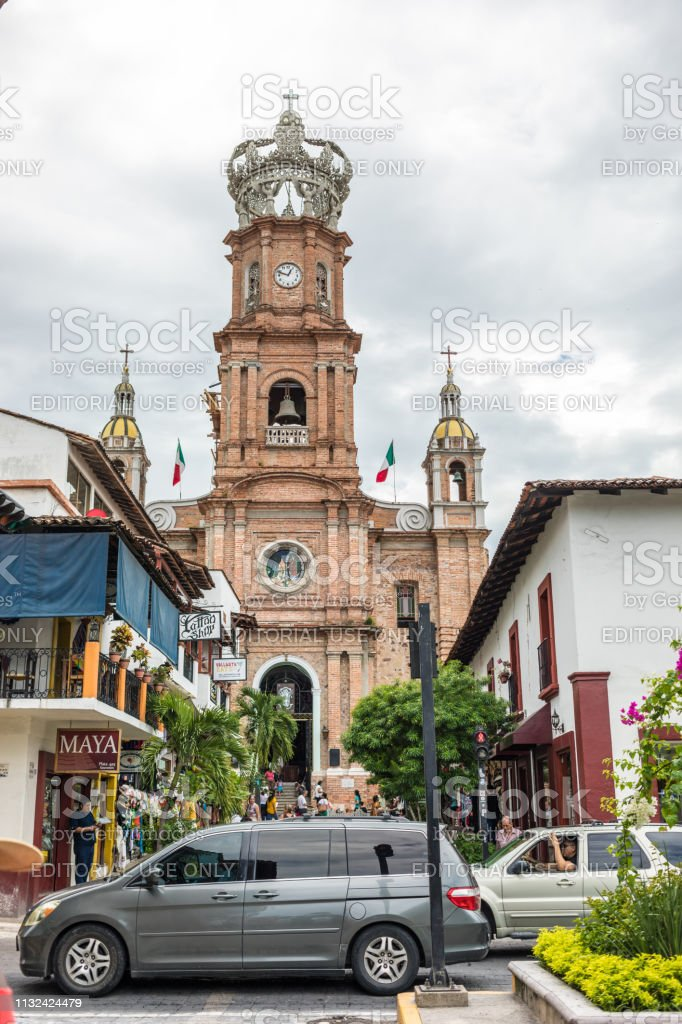 Basilica of Our Lady of Guadalupe in Downtown Puerto Vallarta stock photo