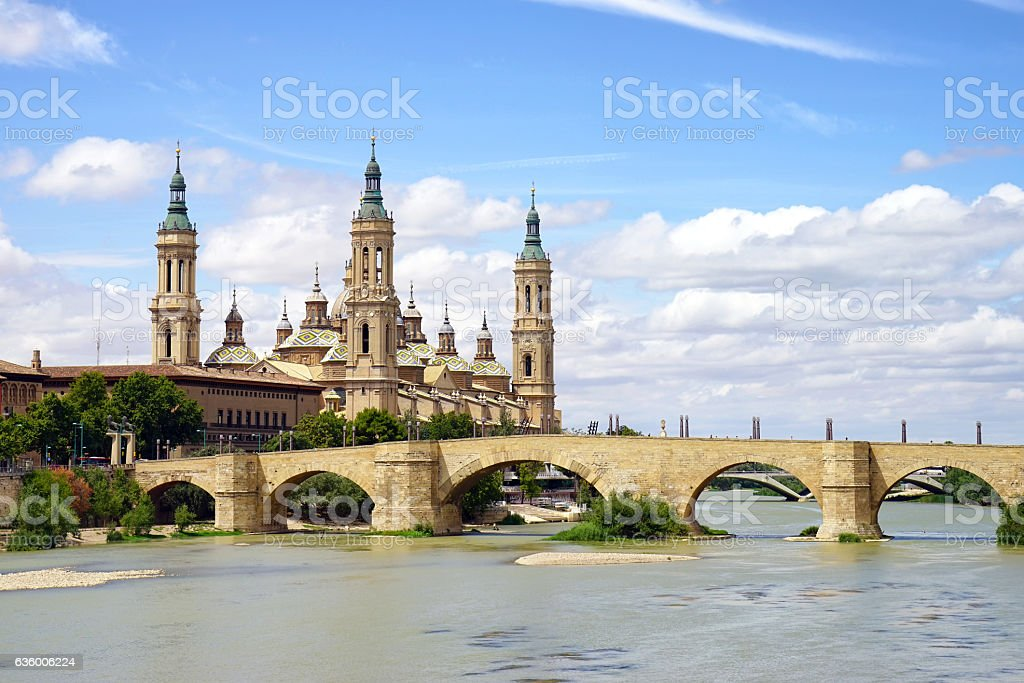 Basilica of Our Lady of the Pillar and the Ebro River stock photo