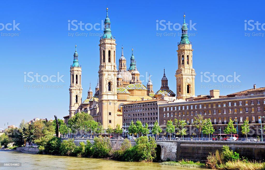 Basilica of Our Lady of the Pillar stock photo