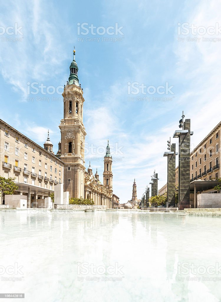 Basilica of Our Lady Pillar in Spain, Europe. stock photo