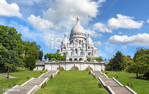 Basilica of Sacre Coeur (Sacred Heart) on Montmartre hill, Paris, France